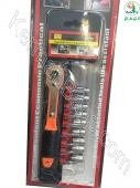 Socket wrench and screwdriver 19 pieces